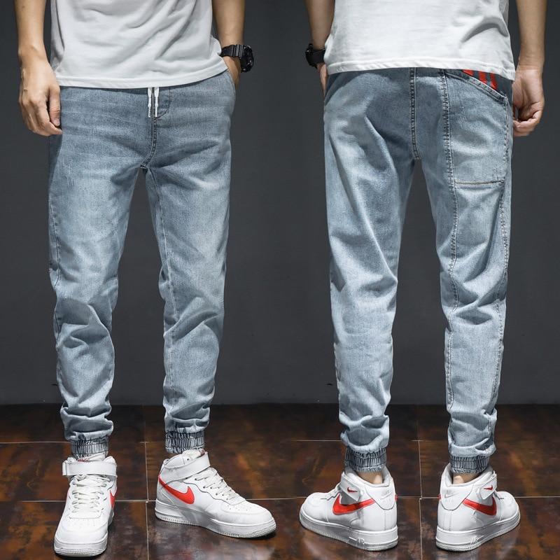 Fashion Streetwear Men Jeans Loose Fit Large Size M-7XL Slack Bottom Joggers Cargo Pants Red Printed Designer Hip Hop Jeans Men