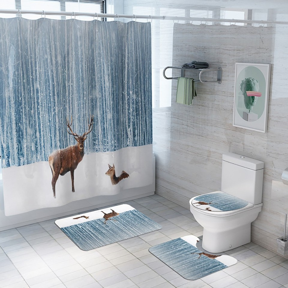US $10.10 10% OFF10PCS Bad Matten Dusche Vorhang Nicht Slip Teppich Deckel  Wc Abdeckung Bad Matte Set Winter Schnee Weihnachten Rentier drucken Dekor