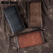 New Retro Men's Wallet Long Zipper Genuine Leather Handy Bag