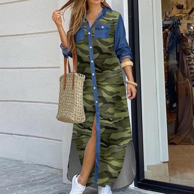Fashion Women Korean Denim Dress Plus Size Summer Dress Lapel Split Sexy Long Maxi Jeans Dress Vestidos De Mujer 2021 #T2Q 2