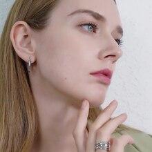 Row Round Black Spinel Sterling Silver Hoop Earrings for Women