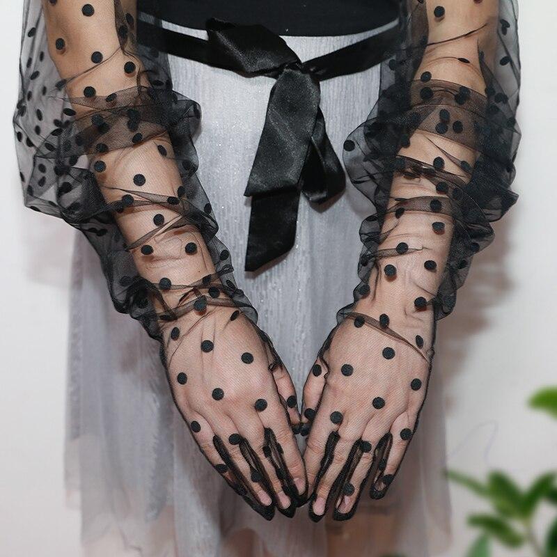 Cham Opera Polka Dot Formal Prom Lace Gloves Tulle Mesh Semi Sheer 33