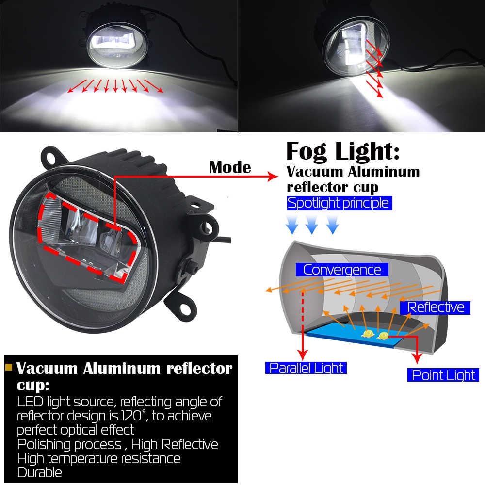 Cawanerl 2 adet araba LED sis lambası gündüz çalışan lamba DRL 12V beyaz aksesuarları Peugeot 107 Hatchback 2005 onwards