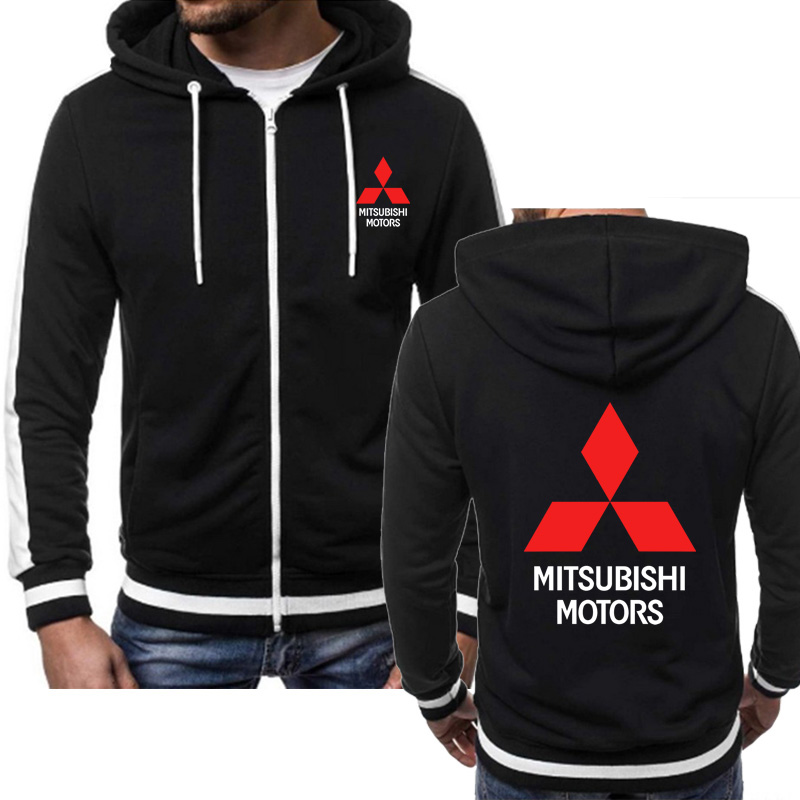 Mens Sweatshirts Mitsubishi Car Logo Print Fashion Casual Hip Hop Harajuku Long Sleeve Hooded Zipper Jacket Man Hoody Clothing