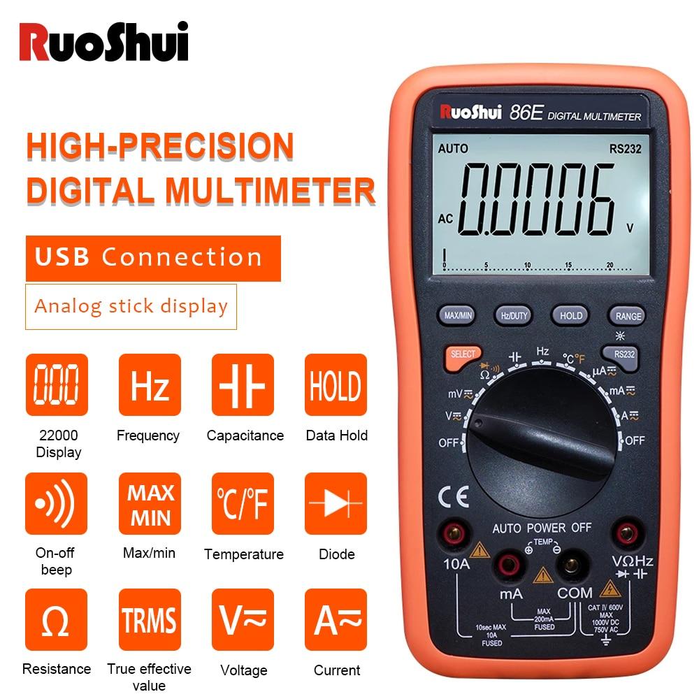 RuoShui-multímetro digital 86E, máximo 22000 recuentos, rango automático, condensador de frecuencia de temperatura con conexión USB, multimetro de transferencia