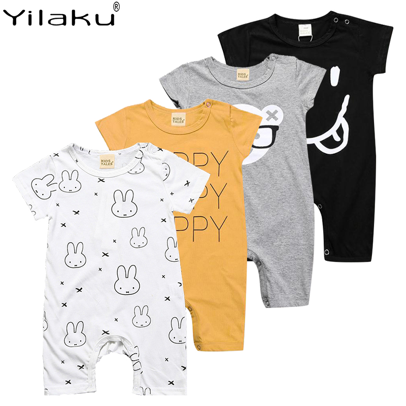 Yilaku Baby Clothes Summer Bodysuit Baby Girl Rompers Short Sleeve Toddler Boy Jumpsuit Bear Cartoon Infant Unisex Clothes YY037