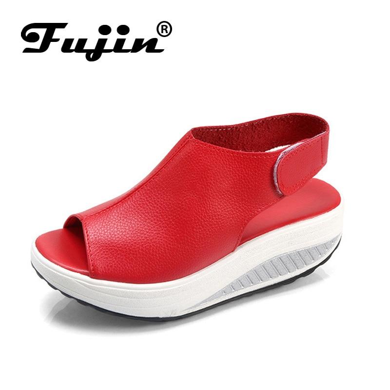Fujin 2020 Summer Shoes Women Fashion For Women Leather PU Sandals Platform Buckle Leisure Casual Footwear Shoes Slip On