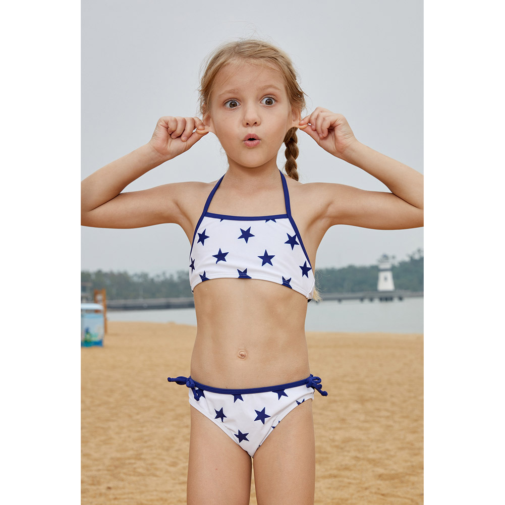 Shi Ying Europe And America GIRL'S Swimsuit Halter Star Print Princess Students Beach Holiday Two-piece Swimsuits 410050