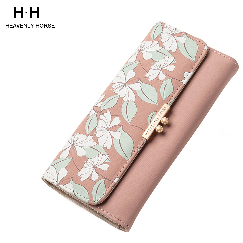 2019 New Arrival Sweet Fashion Printing Women's Wallet Ladies Long Section Coin Purch  PU Wallet Card Package