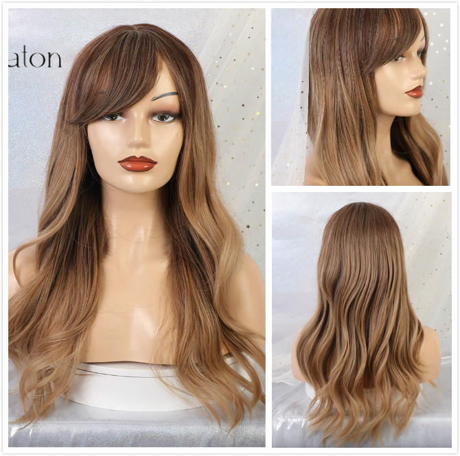 ALAN EATON Ombre Wavy Wigs Black Brown Blonde Middle Part Cosplay Synthetic Wigs with Bangs For Women Long Hair Wigs Fake Hair 5