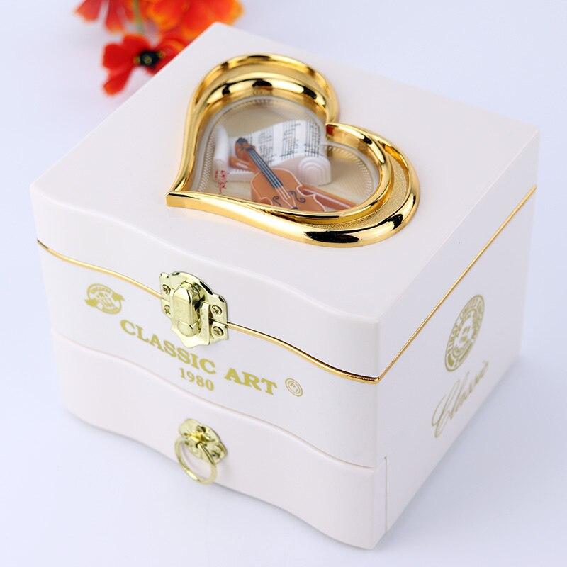 Classic Rotating Dancer Ballerina Piano Music Box Clockwork Plastic Jewelry Box Girls Hand Crank Music Mechanism