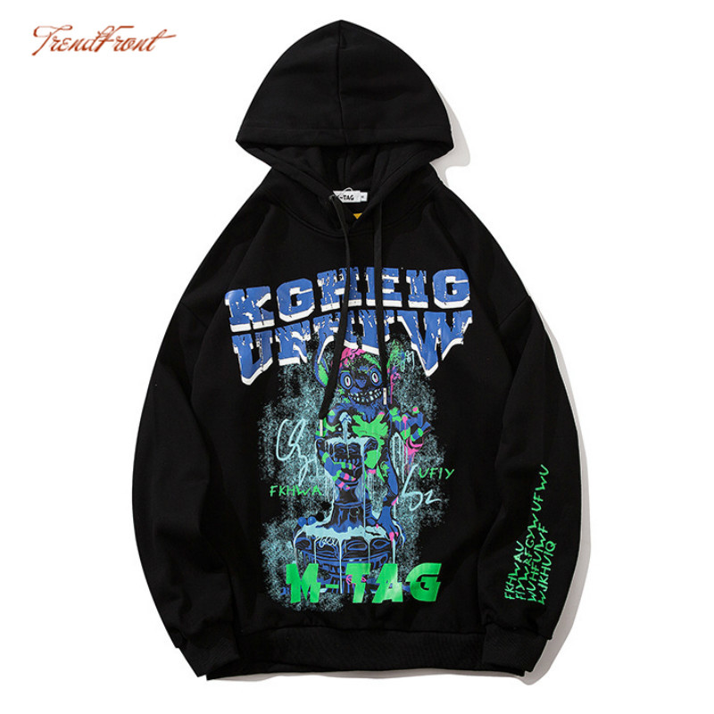 TF Autumn Harajuku Style Japanese Street Fashion Brand Loose Hoodie Jacket Men Women Couple Card Printing Peanut Hooded Sweater 1