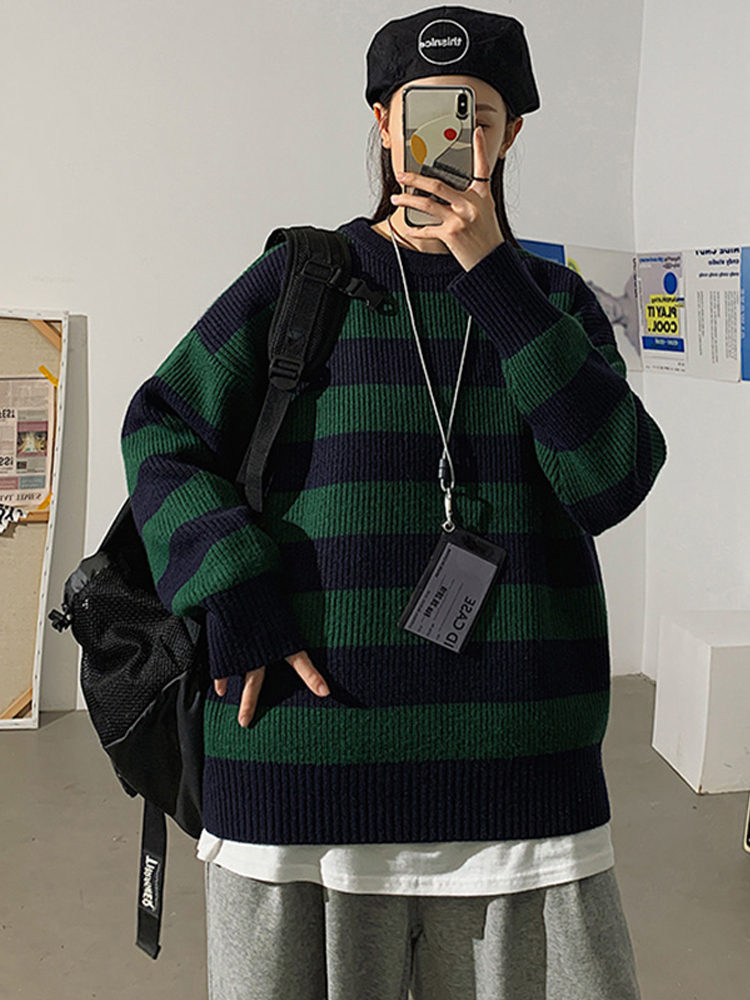 Winter Sweater Pullovers Striped Jumper Warm LEGIBLE Casual Women Autumn Teen Gril
