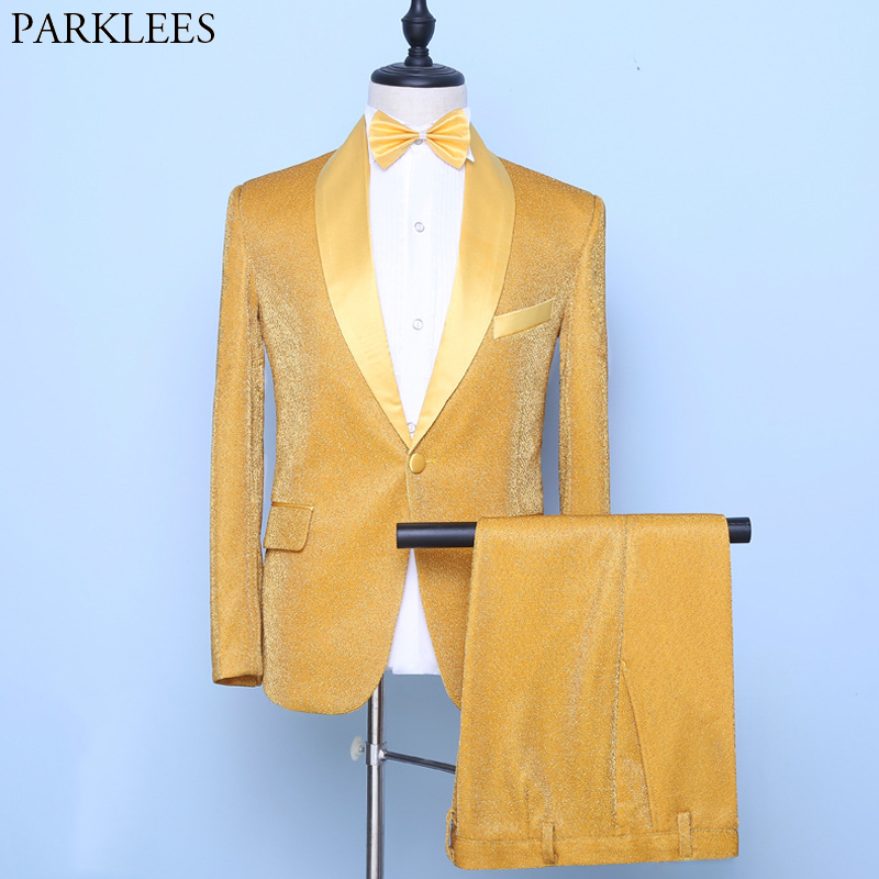 Luxury Gold Silk Mens Suits With Pants 2020 Brand Shawl Collar One Button Tuxedo Suit Male Slim Fit Party Wedding Costume Homme