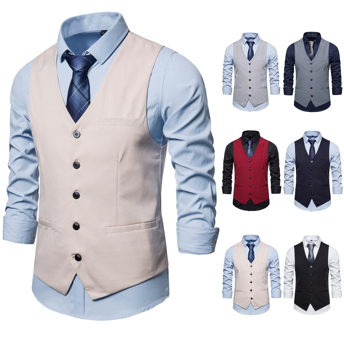 Mens Suit Vest Spring Clothing Business Leisure Single Breasted Male Gentlemen Vest