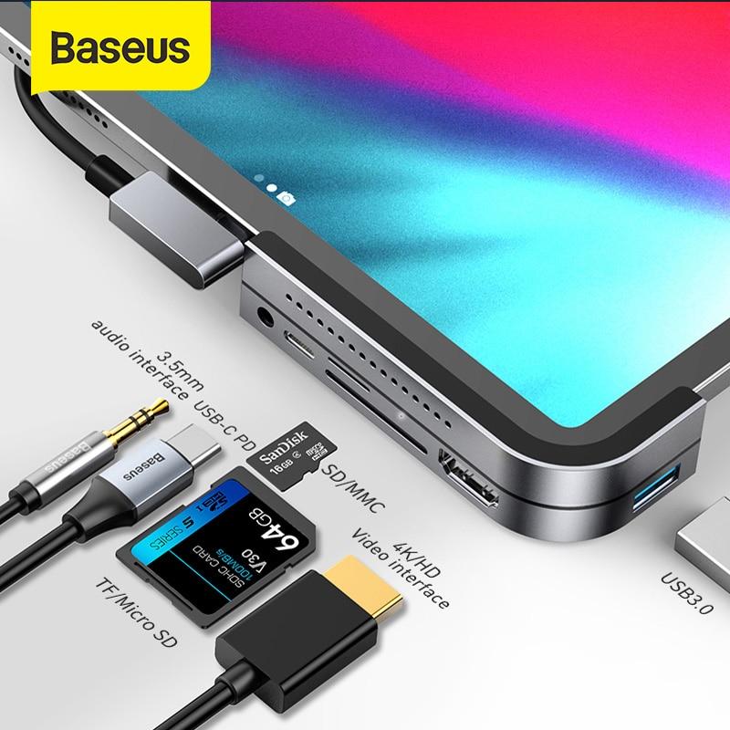 Baseus USB C HUB For IPad Pro Type C USB 3.0 HUB HDMI 3.5mm Jack PD Port USB Splitter Adapter USB Type-C HUB For MacBook Pro