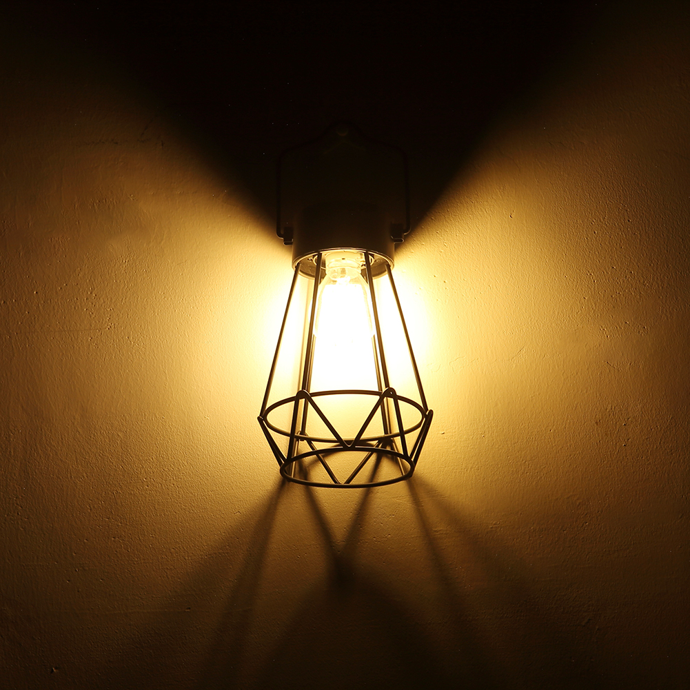 Vintage Iron Cover Bulb Guard Lamp Ceiling Pendant Hanging Wire Cage Lampshade Light For Home Cafe Bar Decoration