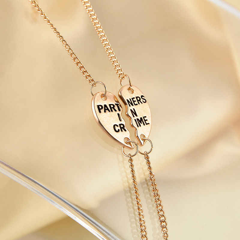 2 Colors Forever Friendship Gift PARTNERS IN CRIME Split Heart Pendant Bracelet Set Alloy Metal Charm Unique For Boys Girls
