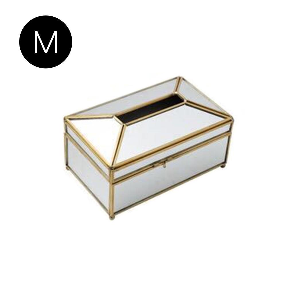 Европейская роскошная коробка для салфеток из золотого стекла для дома, гостиной, косметики, коробка для хранения салфеток с зеркальной крышкой, коробка-держатель для салфеток - Цвет: C
