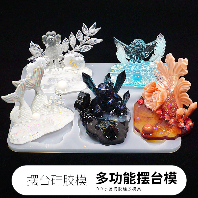 QIAOQIAODIY Large Table Decoration Mold Coaster Set Multi-standard Cup Mat Silicone Molds DIY Crystal Epoxy Jewelry Making Tool