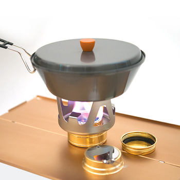 Outdoor Portable Alcohol Stove Windproof Set Camping Liquid Solid Holder Vaporizable