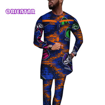 Casual Men African Clothes Tops and Pants African Print Long Shirt Maxi Gown Trousers 2 Piece Set for Male Men Dashiki WYN586