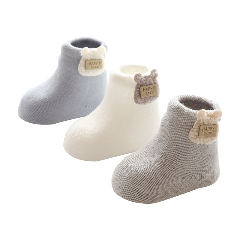 3 Pairs Winter New Baby Socks For Girls Boys Warm Thick Infant Cotton Socks Newborn Slipper Shoes Boots Clothing Accessories