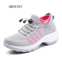 Gray-Women Casual Shake Sneakers Breathable Platform Walking Shoes