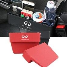 Car Seat Gap Storage Box For Infiniti FX35 Q50 Q45 G35 G37 M35 QX70 FX37 QX60 Q30 Auto Pocket Organizer Phone Cup Drink Holder