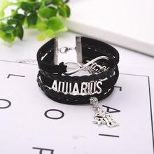 Черный кожаный 12 знаков зодиака Созвездия с бусинами браслет