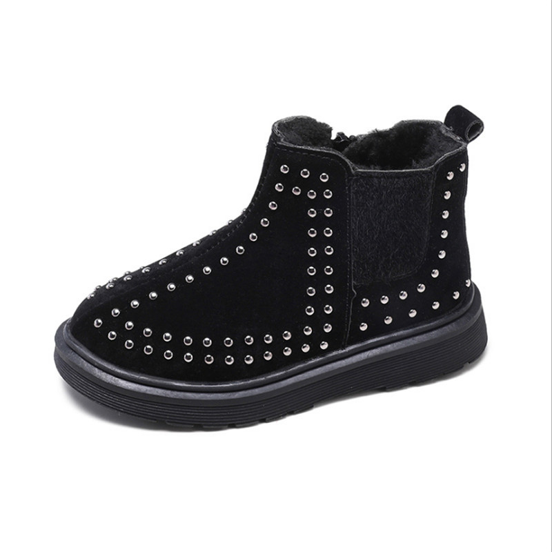 MHYONS Children's Martin Boots Autumn And Winter New Rivets Plus Cotton Ankle Boots Boys Shoes Baby Cotton Shoes Girls Boots