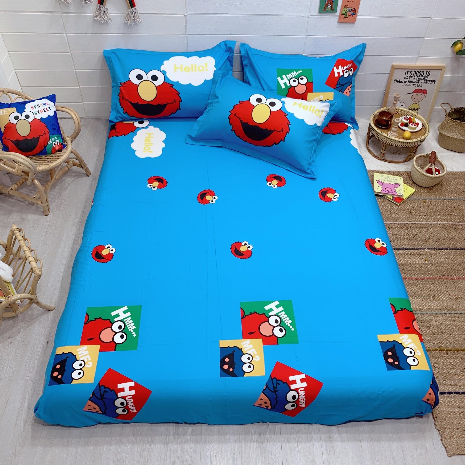 Cute 100% Cotton 4-piece Set Cartoon Cotton Kit CHILDREN'S Three-piece Suit Large Version Of Printed 1.2 M1. 5 Bed