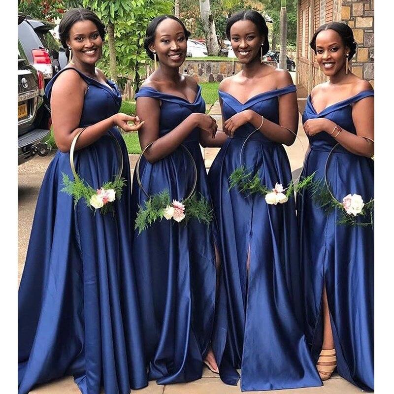 Plus Size Bridesmaid Dresses Off Shoulder Simple Satin Afraican Women Wedding Guest Dresses High Slit Cheap Bridesmaid Gowns