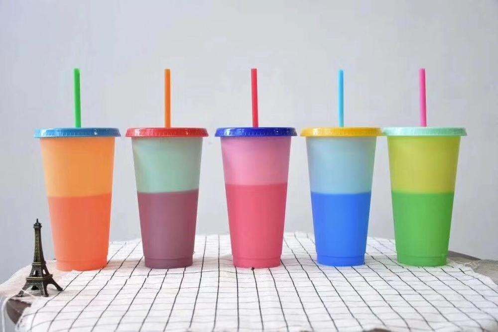 700ML Plastic Temperature Change Color Cups 5pcs Colorful Cold Water Color Changing Coffee Cup Mug Water Bottles With Straws Set