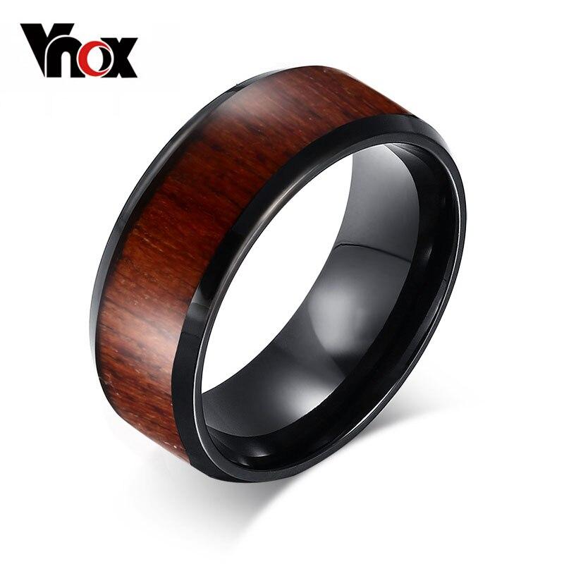 Vnox hommes anneaux de mariage de haute qualité carbure de tungstène anneaux de fiançailles conception de bois en gros