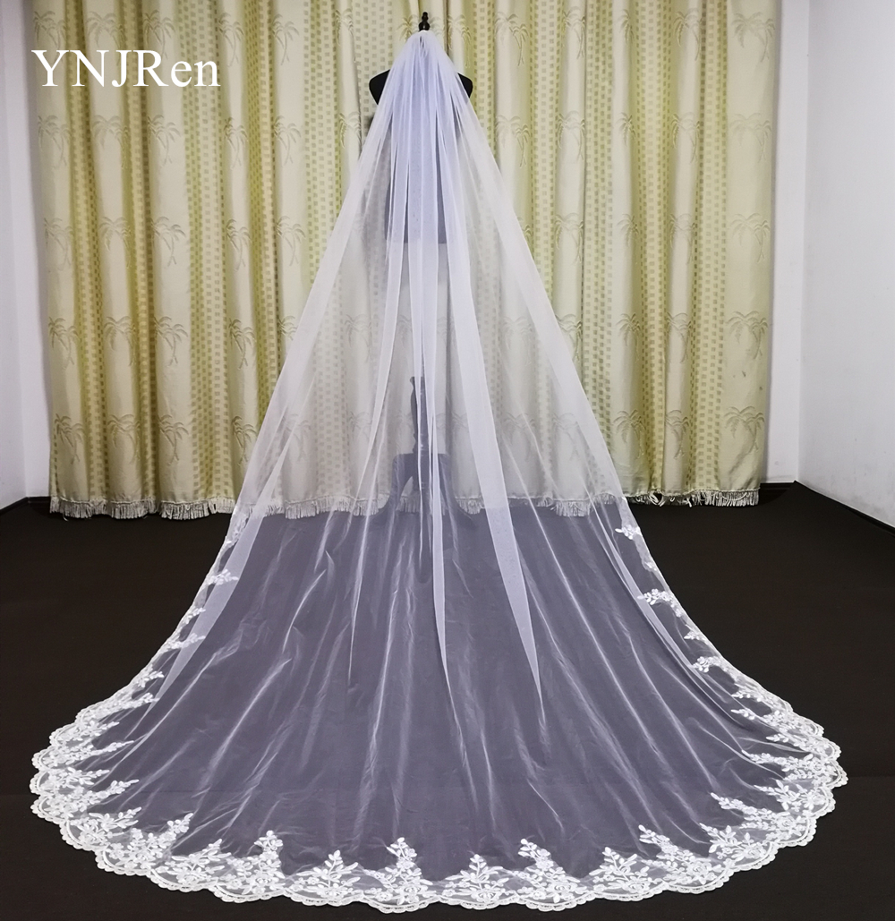 Real Photos Bride Wedding Accessories Lace Lace Veil Cathedral Wedding Veil With Metal Comb