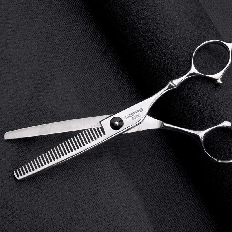 Купить с кэшбэком 6 Inch Hairdressing Scissors Black Colorful Hair Salon Professional Hairdressing Scissors Flat Cutting Bangs Thinning Shears