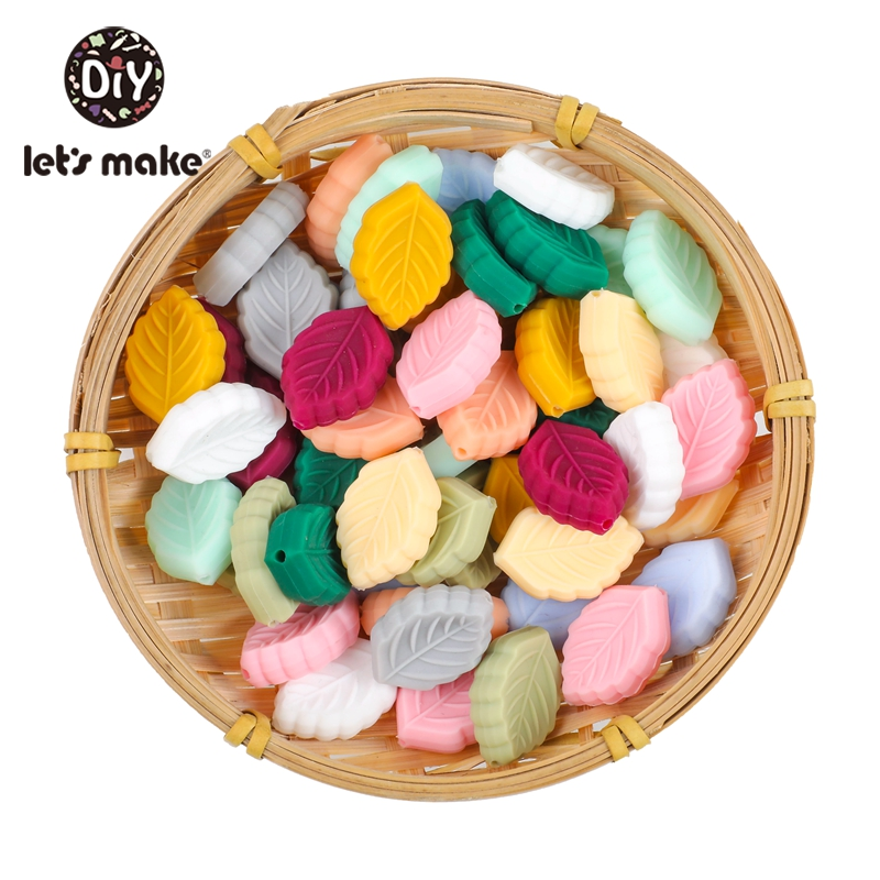 Let'S Make 30Pcs Small Leaves Silicone Baby Teether Oral Nursing Product Baby Silicone Teether Random Color