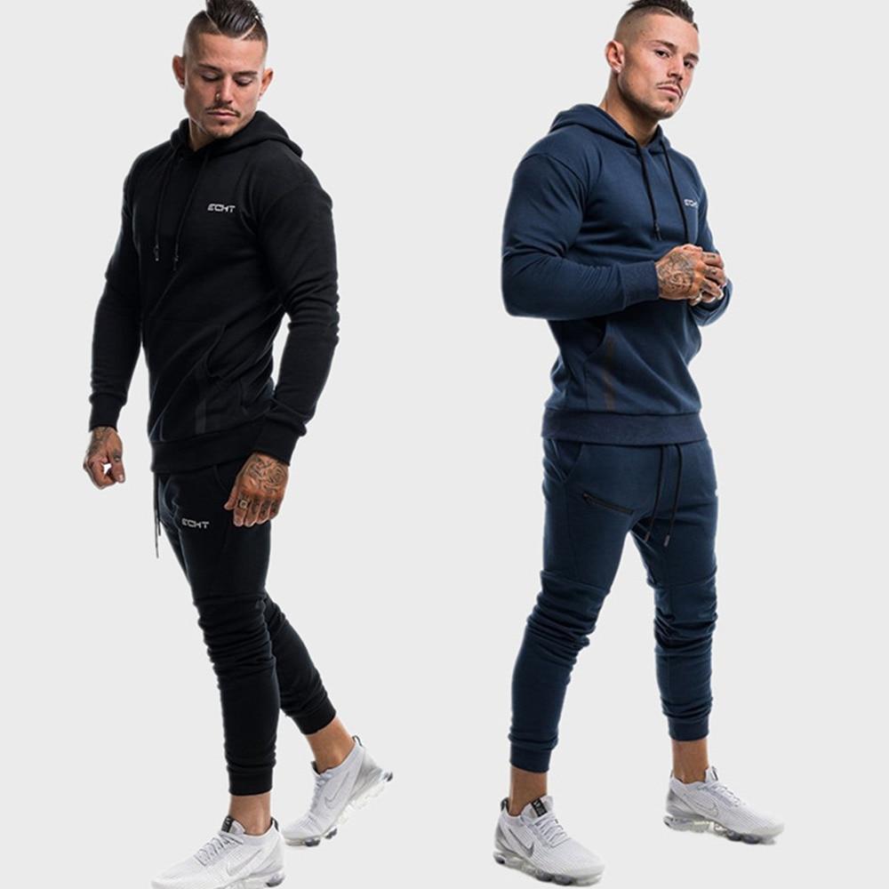 New Casual Sportswear Suit Gym Fitness Tracksuit Hoodies Pants Sets Men Sweatshirt Joggers Sweatpants Male Cotton Tops Trousers