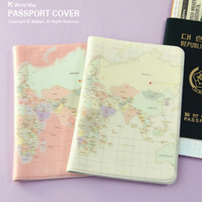 Passport Wallet Id-Card-Holder World-Map-Cover Protective Wholesale The Chic of Unisex