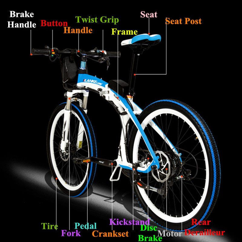 Lankeleisi 189.47 electric bicycle, folding bicycle, 26 inches, 36/48 V, 240 W, disk brake, fast folding, mountain 3