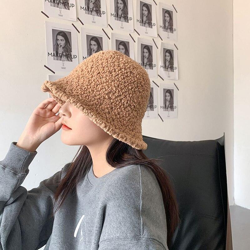 Купить женское ведро повседневные однотонные теплые черные шляпы женские