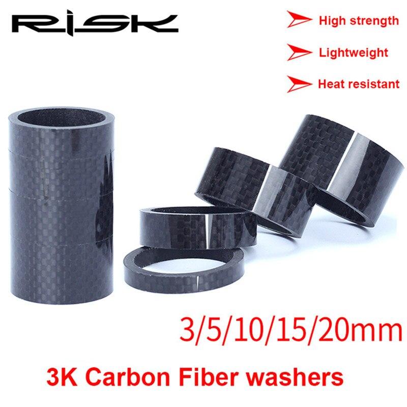 Risk Carbon Fiber Bike Front Fork Headset Washer MTB Road Bicycle 28.6mm CNC Gasket 3/5/10/15/20mm Handlebar Headset 3k Spacer