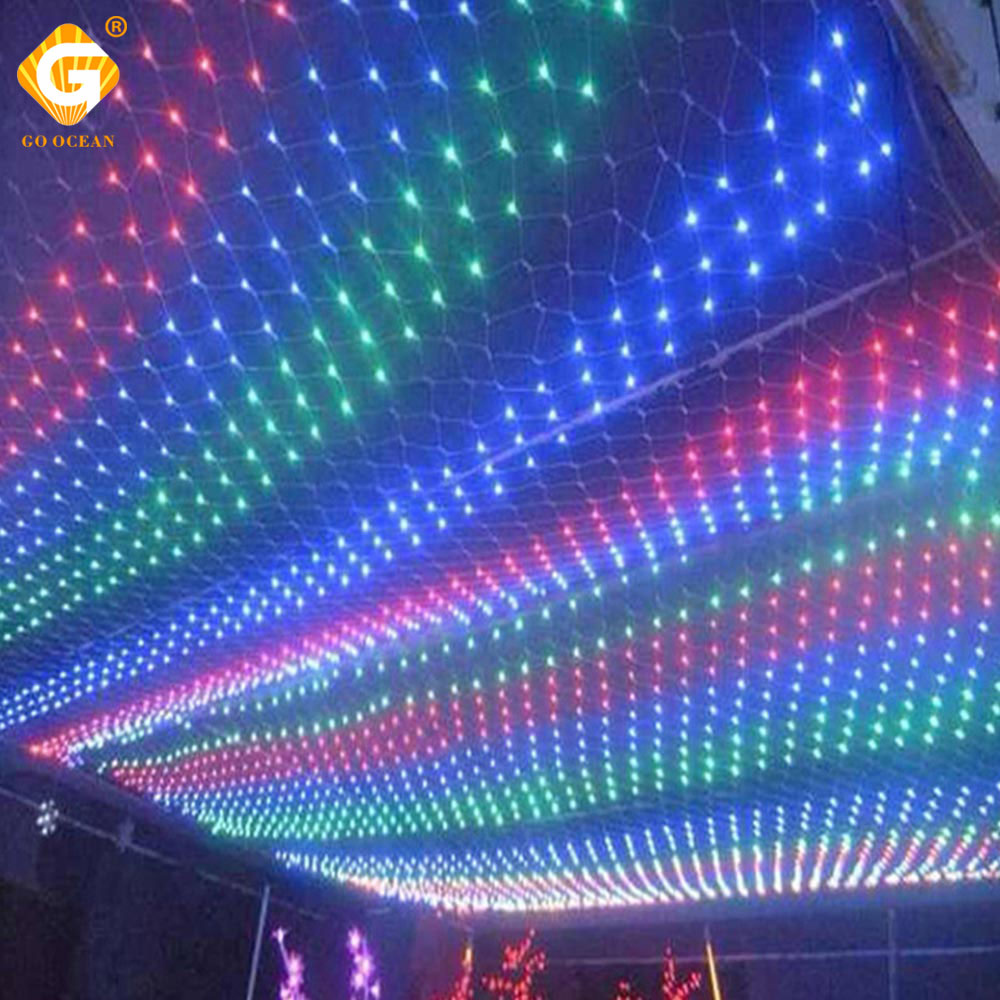 Festival String Light Tail Plug 1.5Mx1.5M 3Mx2M Waterproof Mesh Garland Wedding Party Christmas Decoration Net Curtain Lights