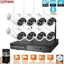 8CH 3.0MP 오디오 FHD 무선 NVR 키트 P2P 실내 야외 IR 야간 보안 3.0MP 오디오 IP 카메라 와이파이 CCTV 시스템