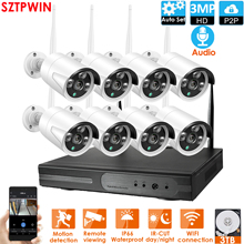 Sistema de seguridad con visión nocturna IR para interiores y exteriores, Audio FHD, Kit NVR inalámbrico, P2P, 8CH, 3,0mp, cámara IP, WIFI, videovigilancia