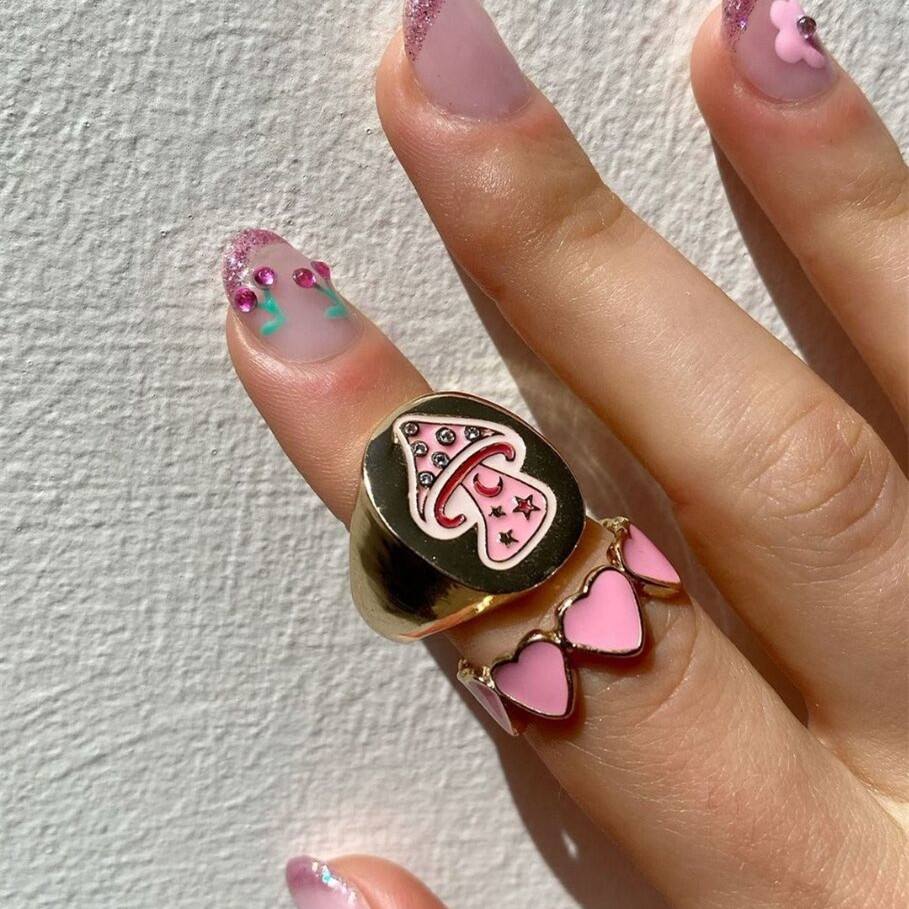 Mushroom Ring Most Loved Smile Rainbow Alien Flower Queen Rings Spring Fine Lucky Jewelry Heart Clouds Rings for Women Gift
