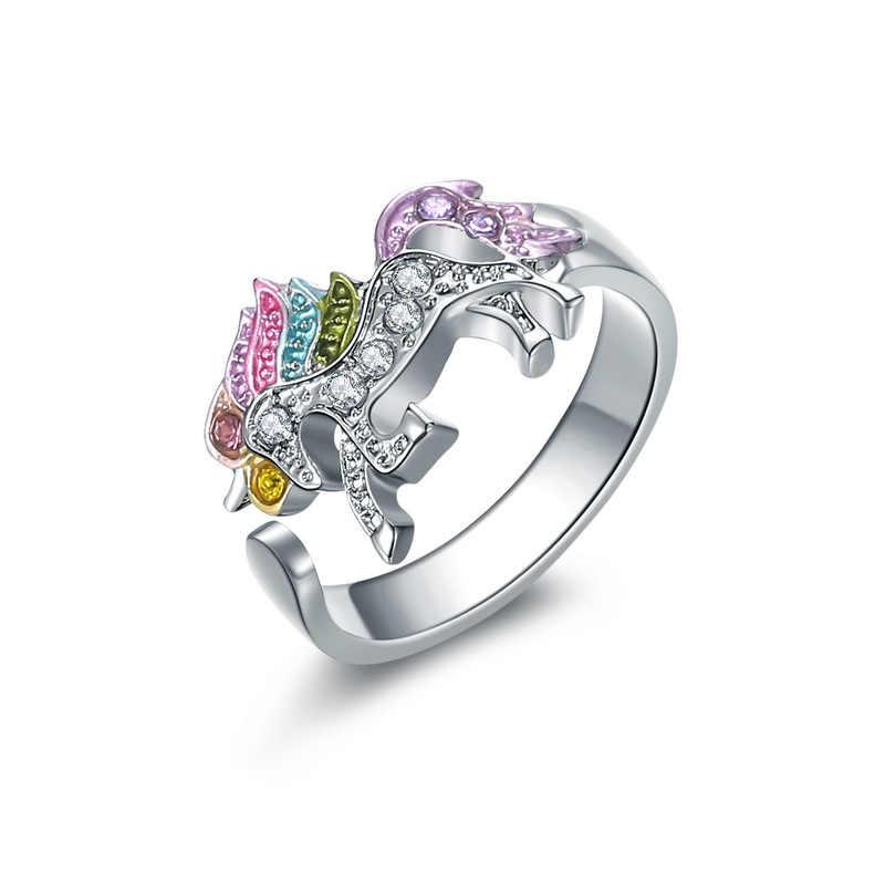 Qilmily conjunto de circón con incrustaciones de unicornio colorido collar y pulsera y pendiente y anillo para las mujeres y niñas de oro tire ajustable regalos de joyería caliente