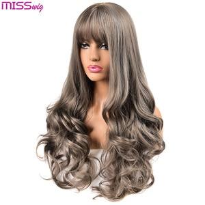 Image 3 - Длинные волнистые парики MISS WIG для чернокожих женщин, афроамериканские синтетические волосы, розовые, коричневые, с челкой, термостойкий