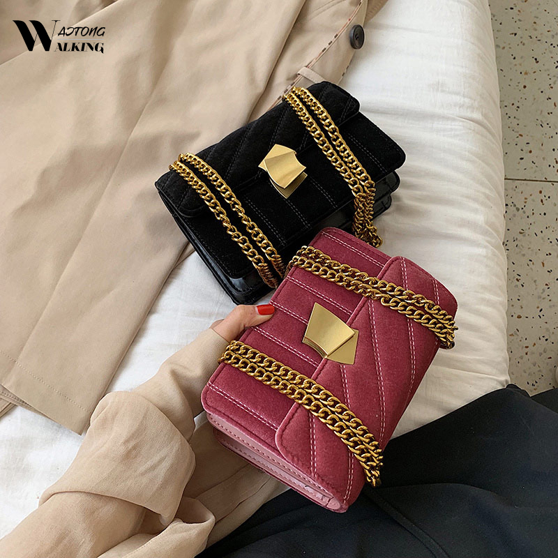 Винтажный бархатный клатч, вечерние сумки мессенджеры, роскошные дизайнерские сумки через плечо с золотой цепочкой для женщин, квадратные сумочки Bolsas Feminin|Сумки с ручками|   | АлиЭкспресс